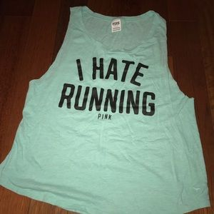"""PINK """"I hate running"""" muscle tank - Teal"""